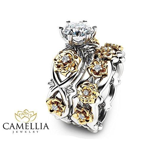 Floral Moissanite Engagement Ring Set 14K 2 Tone Gold Wedding Rings