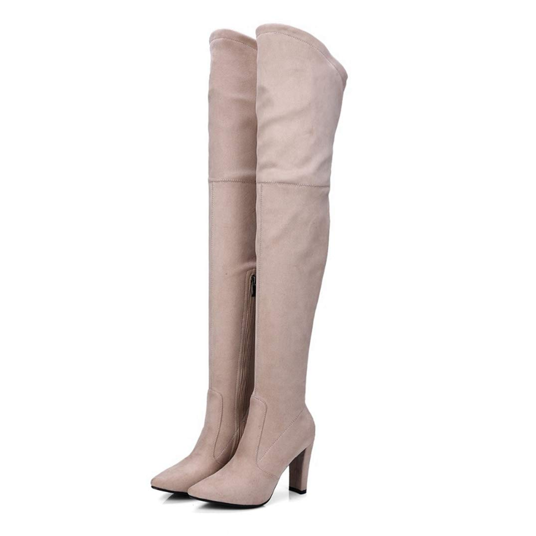 Beige Thigh High Boots for Women Faux Suede Winter Stretch Over The Knee Boots Zip High Heel Pointed Toe shoes