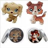 2pcs #1542 #748 Littlest Pet Shop Brown Collie Dog Puppy Cocker Spaniel LPS
