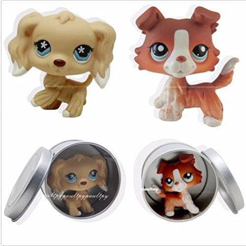 2pcs #1542 #748 Littlest Pet Shop Brown Collie Dog Puppy Cocker Spaniel LPS (Littlest Pet Shop Brown Cat)