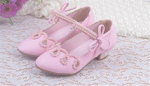 YOGLY Zapatos para Niñas Princesa Sandalias de Niña con Perla Zapatos Niñas Tacones Rosa