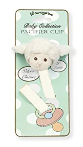 Bearington Baby Lamby Plush Lamb Pacifier Holder with Satin Leash and Clip