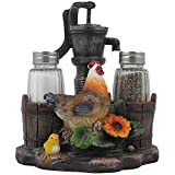 country kitchen table decor 1 X Farm Chicken and Old Fashioned Water Pump Glass Salt and Pepper Shaker Set with Holder Figurine in Country Kitchen Rooster Decor, Sculptures and Statues and Rustic Gifts for Farmers