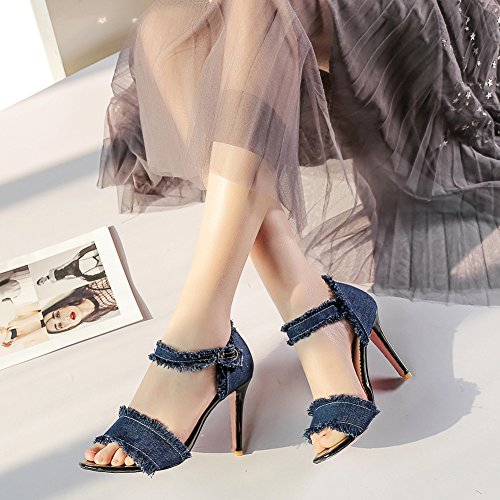 Jamron Womens Unique Denim High Stiletto Heel Closed Back Summer Sandals With Adjustable Ankle Strap Navy P8ZIyCyTy