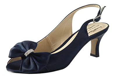c1b2801d2597 Chic Feet Ladies Womens Navy Blue Low Heel Special Occasion Bridal  Bridesmaid Prom Wedding Slingback Shoes