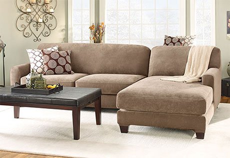 Stretch Pique Two Piece with Right Side Chaise Sectional Slipcover TAUPE (Sectional Surefit)