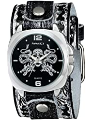 Nemesis Mens SSN910K Punk Rock Collection Black Snake Skull Watch with Leather Band