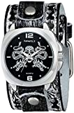 Nemesis Men's SSN910K Punk Rock Collection Black Snake Skull Watch with Leather Band