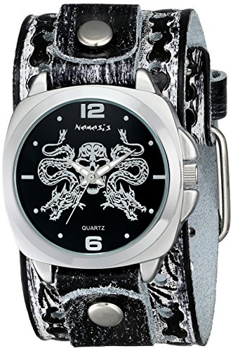 Nemesis Men's SSN910K Punk Rock Collection Black Snake Skull Watch with Leather Band (Watch Skull Band Leather)