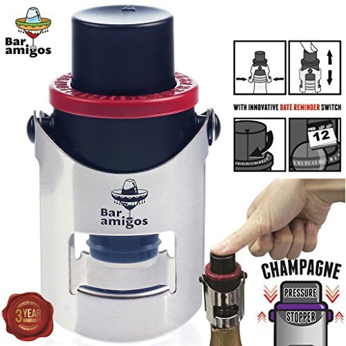 Bar Amigos Champagne Pressure Stopper Red - Saver Pump Sealer Preserver With Patented Technology And Innovative Date Reminder Switch To Keep Your Bottle Of Sparkling Wine Fresh For 7 Days