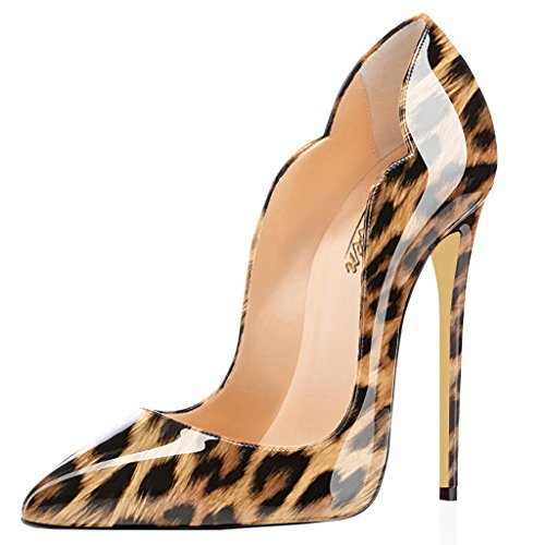 Modemoven Women's Brown Leopard Sexy Point Toe High Heels,Patent Leather Pumps,Wedding Dress Shoes,Cute Evening Stilettos - 6 M US (Sexy Brown Heel High)