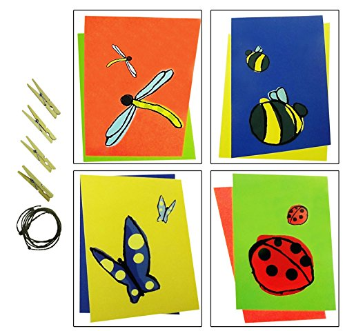 4 Pack 8 x 10 Prints Simple Flying Lady Bug Dragonfly Butterfly Children Wall Decor Artwork Best Inexpensive Top Popular Stocking Stuffer Birthday Present Idea Girl Teen Kid Toddler Baby Room Home