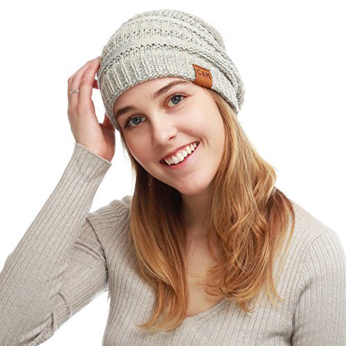 THE HAT DEPOT Winter Two Tone Chunky Cable Soft Beanie Knit Skull Hat (Chunky Cable Knit Hat)