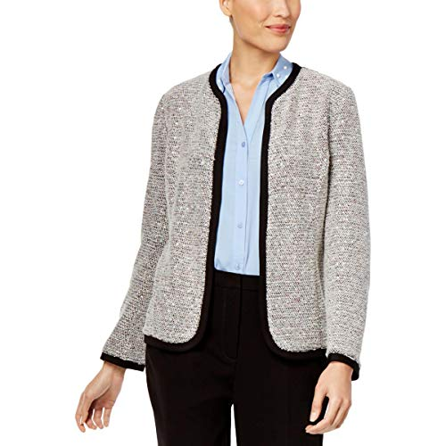 - NY Collection Womens Sequined Boucle Open-Front Blazer Ivory M