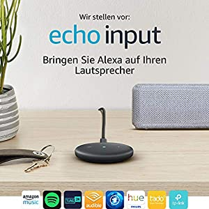 Echo Input (Schwarz) – Bringen Sie Alexa auf Ihren Lautsprecher – Externer Lautsprecher mit 3,5-mm-Audioeingang oder Bluetooth erforderlich