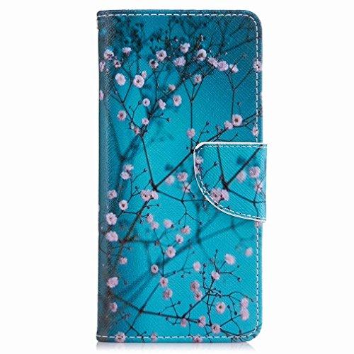 Yiizy Sony Xperia XA Custodia Cover, Fiore Plum Design Sottile Flip Portafoglio PU Pelle Cuoio Copertura Shell Case Slot Schede Cavalletto Stile Libro Bumper Protettivo Borsa