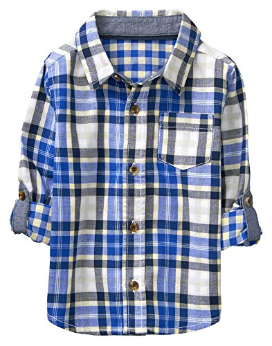 Crazy 8 Toddler Boys' Long Sleeve Adjustable Button Down Woven Shirt, Blue/White Plaid, (Blue Plaid Woven Shirt)