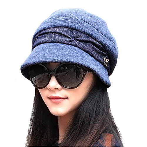 (doublebulls hats Knitted Cloche Hat Pleated Flapper Womens Ladies Winter Hat Short Brim Cap, Navy Blue)
