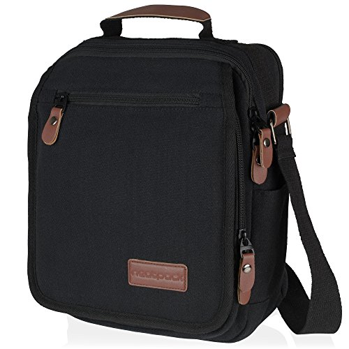 Vintage, Heavy Duty, Vertical Canvas Messenger Bag, Black with Antitheft Pocket ~ Wear Over Shoulder or Crossbody ~ for Business or Urban Travel ~ Gadget Friendly ~ for Teens, Men & Women by (Dig Laptop Messenger)