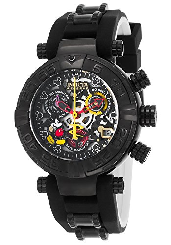 Invicta Women's 'Disney Edition' Swiss Quartz Stainless Steel and Silicone Casual Watch, Color:Black (Model: 22738)