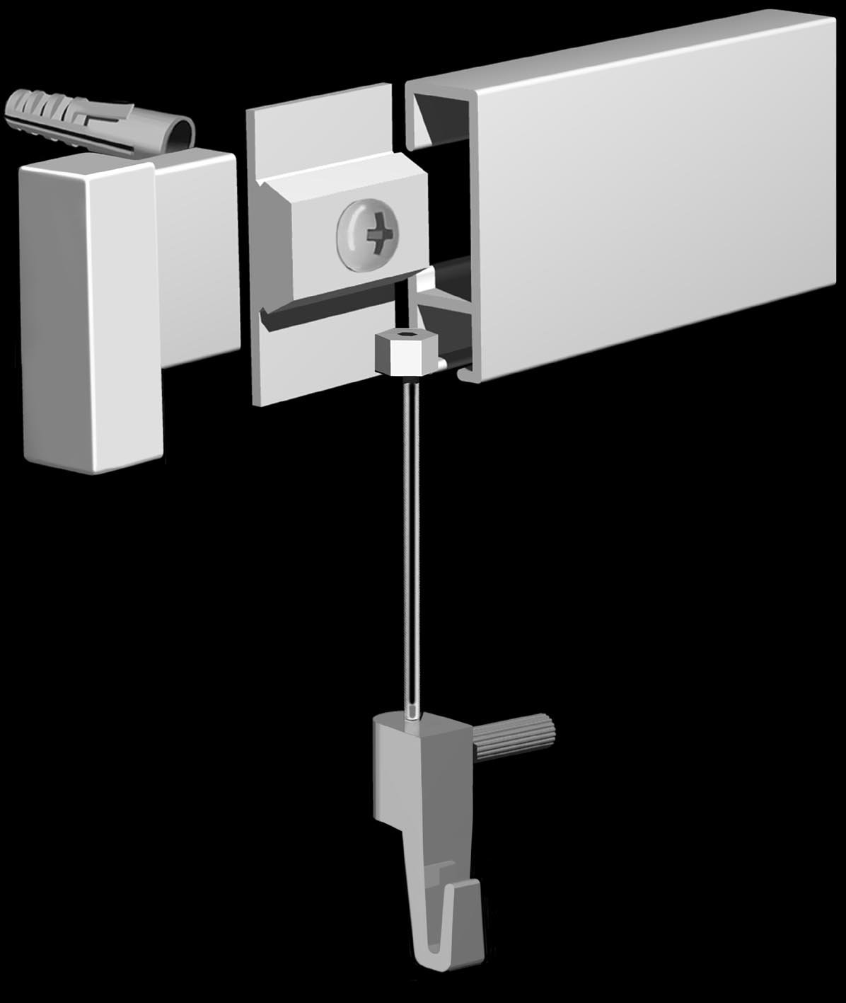 Arti Gallery Silver Picture Hanging System Deluxe Rail Kit (With Twister & Slider Nylon Cables) by ART DISPLAY SYSTEMS