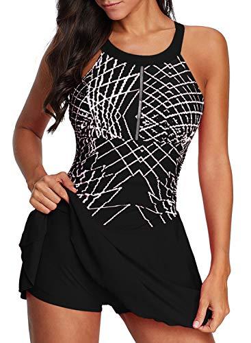 Aleumdr Women's Tummy Control Gradient Color Block Skirtini Swimsuits Cover Up Boyshort Swimdress Bathing Suit Black Medium 8 10