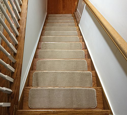 Comfy Stair Tread Treads Indoor Skid Slip Resistant Carpet Stair Tread Treads Machine Washable 8 ½ inch x 30 inch (Set of 13, Dark Cream) (Best Colour Carpet For Stairs)