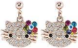 VPKJewelry Women's Girls Kids Hello Kitty Cat 18k Gold Austrian Crystal Stud Multi color Earrings 3 color