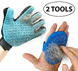 TWO Cat Deshedding Tools - Includes Cat Comb for Deshedding That Fits On Your Hand and Gentle Cat Shedding Glove - Best for Medium and Long Hair Cats - Your Cat Will Love Getting Groomed
