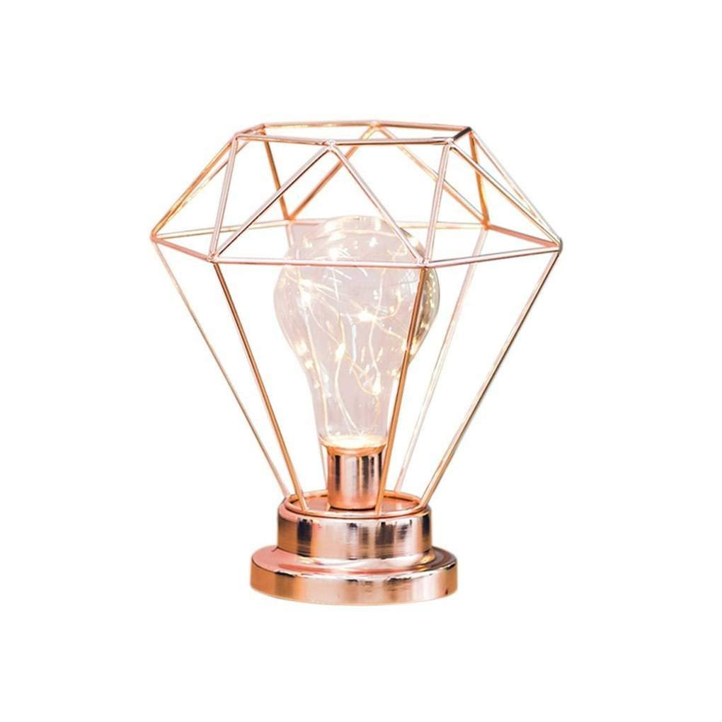 Diamond Iron Table Lamp, Iron Bulb Night Light Nordic Bedside Table Lamp with Battery Operated Decorative Lighting for Bedroom, Living Room, Bar, Hotel (Rose Gold) AntEuro s-20