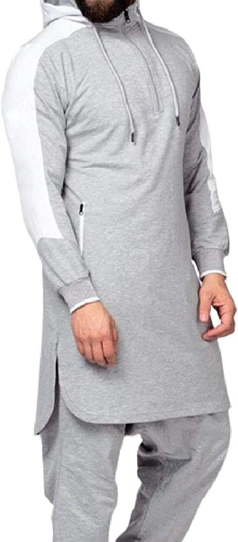 CRYYU Men Contrast Color Fashion Zipper Muslim Split Hoodie Pullover Sweatshirt