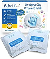 Baby Handprint & Footprint 2 Pack Air-Drying Clay Ornament Refills for Newborns & Infants to Make More Ornaments,...
