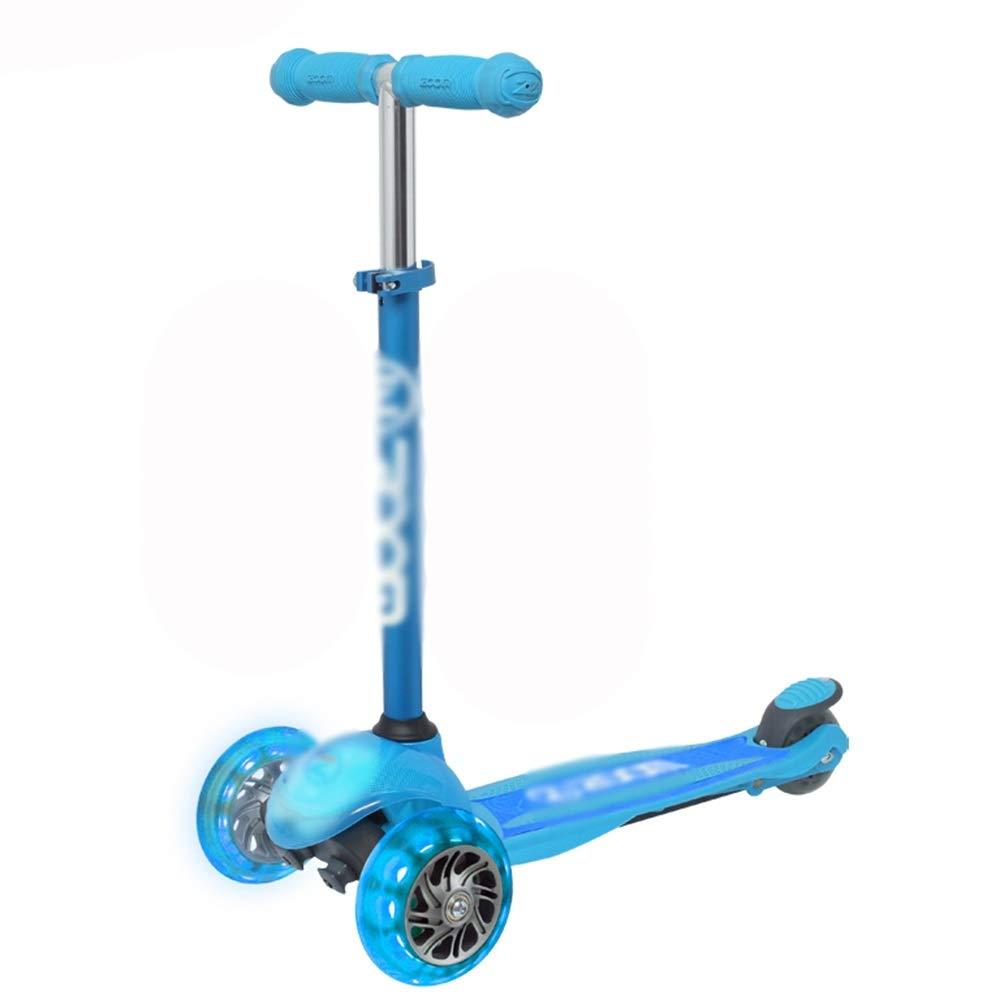 LJHBC キックスクーター 調節可能な高さ ミニキックスクーター 子供用3輪フラッシュ ベアリング重量50kg (色 : 青) 青