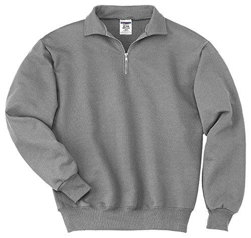 Cotton Oxford Pullover - Jerzees mens 9.5 oz. 50/50 Super Sweats NuBlend Fleece Quarter-Zip Pullover(4528)-OXFORD-S