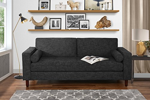 Modern Fabric Sofa with Tufted Linen Fabric - Living Room Couch (Dark Grey)