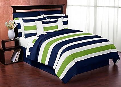 Amazon Com Sweet Jojo Designs 3 Piece Navy Blue Lime Green And