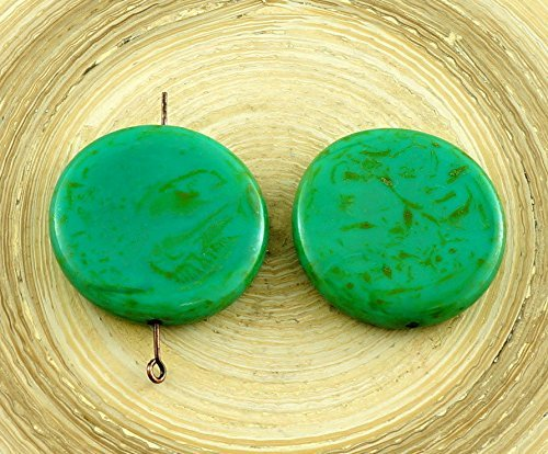 2pcs Large Picasso Turquoise Brown Flat Coin Pendant Focal Czech Glass Beads 26mm