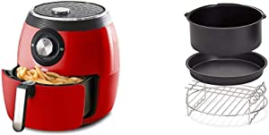 Dash DFAF455GBRD01 Deluxe Electric Air Fryer + Oven Cooker, 1700-Watt, 6 Quart, 6qt, Red & DFAF450UP1 Air Fryer, Deluxe, Accessory Bundle