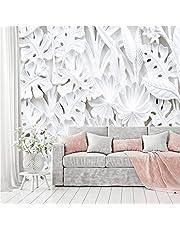 murimage Fotobehang bloemen 3D wit 366 x 254 cm inclusief lijm planten behang stucwerk reliëf gips patroon slaapkamer woonkamer woning