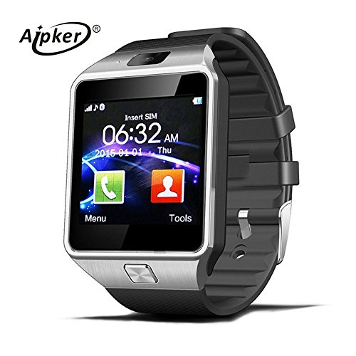 Aipker Bluetooth Smartwatch Phone with SIM TF Card Slot Camera for Samsung LG Sony All Android Smartphones Silver