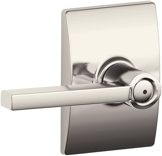 Polished Nickel Schlage F40 LAT 618 CEN Latitude Lever with Century Trim Bed and Bath