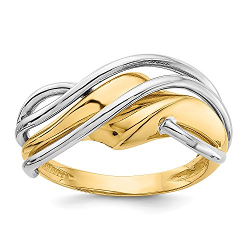 - 14k Two-tone Wave Ring, Size: 7, 14 kt White and Yellow Gold