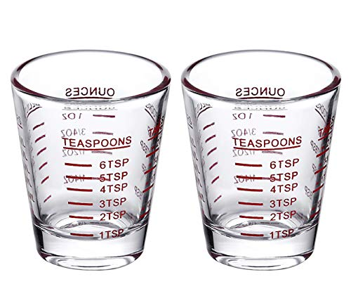 Shot Glasses Measuring cup Espresso Shot Glass Liquid Heavy Glass Wine Glass 2 Pack 26-Incremental Measurement 1oz, 6 Tsp, 2 Tbs, 30ml (2 ()