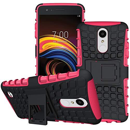 OEAGO LG Aristo 3/LG Aristo 2/LG Tribute Empire/Tribute Dynasty/Phoenix 4/Zone 4/Rebel 4 LTE/K8+ Plus/Risio 3/Phoenix 3/Fortune 2/Rebel 3/2 Phone Case, Tough Rugged Dual Layer Case w/Kickstand, Rose