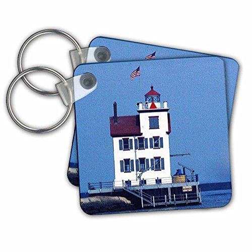 Sandy Mertens Ohio - Lorain Lighthouse in Lorain Looking Over Lake Erie - Key Chains - set of 2 Key Chains (kc_61706_1)