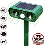 Ultrasonic Animal Repeller, Solar Powered Pest Repeller Ultrasonic Effective Sensor with Flashing LED Lights Outdoor Waterproof Pest Control Yard Repellent, Repel Cats Dogs Foxes Birds Skunks Mice