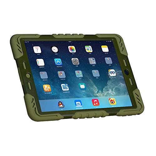 - Hot Newest Pepkoo Ipad 6 / Ipad Air 2 Case Silicone Plastic Kid Proof Extreme Duty Dual Protective Back Cover with Kickstand for Ipad 6 / Ipad Air 2 - Rainproof Sandproof Dust-proof Shockproof (Olive/Olive)