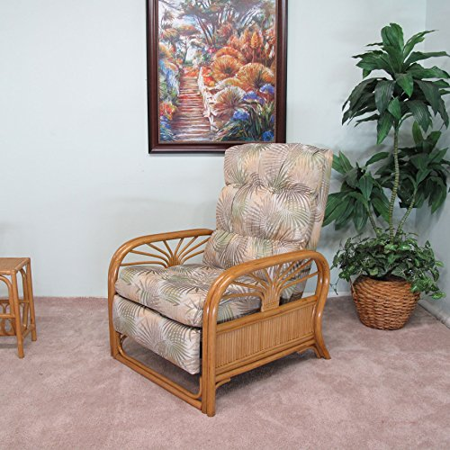 Upholstered Chair Alder (Made in USA Sundance Recliner Chair Sandstone Beige Tropical Fabric)