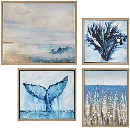 Madison Park Seascape Wall Art-Coastal Theme Complete Set Modern 4 Piece Home Painting Gel Coat Canva