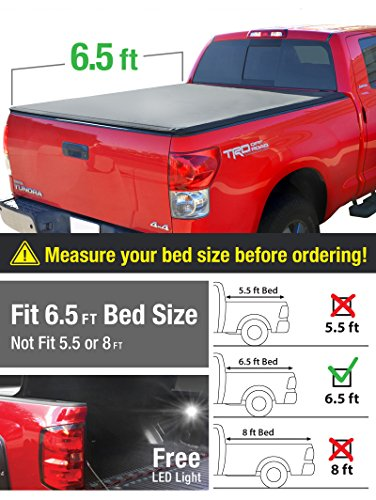 MaxMate Tri-Fold Truck Bed Tonneau Cover works with 2007-2013 Toyota Tundra | Fleetside 6.5' Bed | For models with or without the Deckrail System